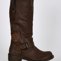 Buckle Detail Rounded Toe Calf Boots