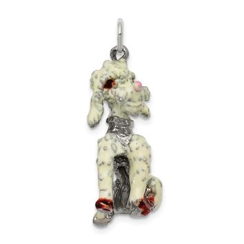 925 Sterling Silver Enameled Large Poodle Charm and Pendant