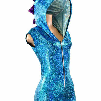 Turquoise Shattered Glass Holographic ZIpper Front Cap Sleeve Hoodie Romper with Fuchsia Spikes & Seafoam Hood Lining  -151491