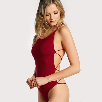 Selena Burgundy Sleeveless Thong Bodysuit