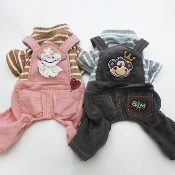 ONETOW Dog Jumpsuit Pet Dress Striped&Monkey Cat Puppy Rompers Shirt Pants Spring Clothes Apperal