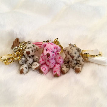 Adorable Louis Vuitton inspired teddy keychain/purse embellishment