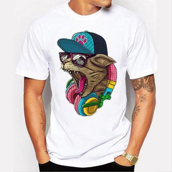Cool Cat With headphones and Hat - Music Cat T-shirt