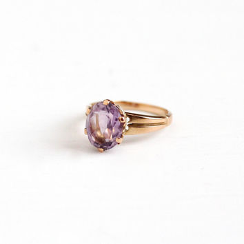 Sale - Antique Victorian 10k Rose Gold Rose de France Amethyst Ring - Vintage Size 6 Large Light Purple Oval 2+ Carat Gemstone Fine Jewelry