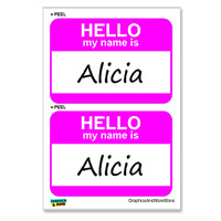 Alicia Hello My Name Is - Sheet of 2 Stickers