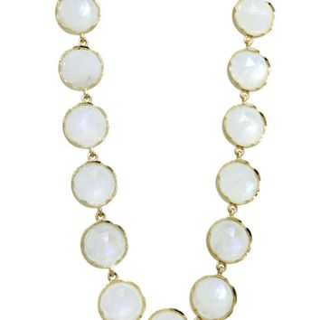 Rose Cut Rainbow Moonstone Chain Necklace - 34 Inch
