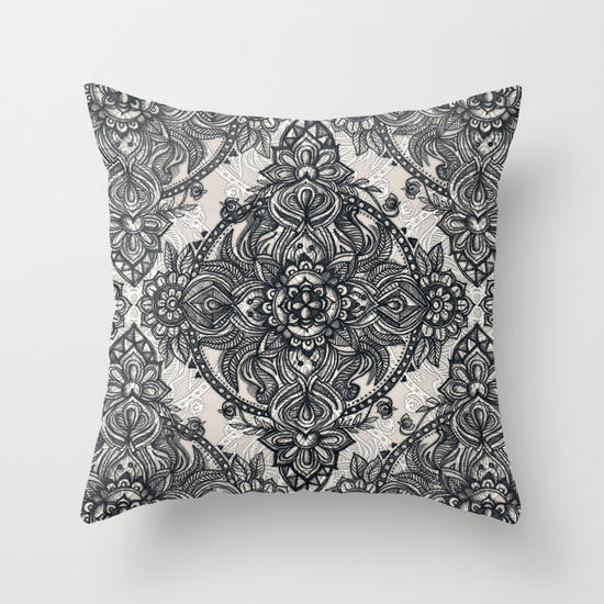 Throw Pillows With Lace : Charcoal Lace Pencil Doodle Throw Pillow from Society6 Pillows
