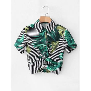 Contrast Stripe Foliage Print Twist Crop Blouse