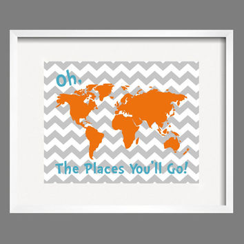 Dr. Seuss Quote Orange Gray Aqua Modern Art Print Typography Poster Nursery Art Print, Kids Wall Art, Playroom wall art-11x14 Oh, The Places