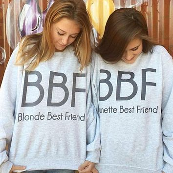 One-nice™ BIONDE/BRUNETTE BEST FRIEND Letter Print Sweater
