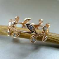 Leaf engagement ring, wedding band.  14k pink gold