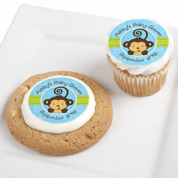 Baby Shower Edible Cupcake Toppers - Monkey Boy