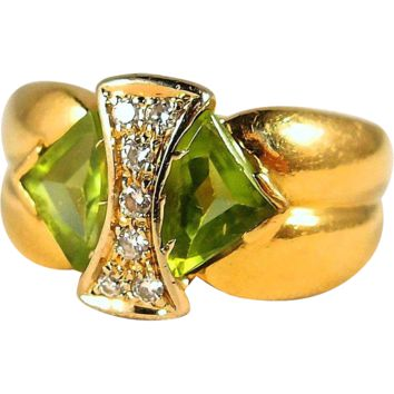 Unusual peridot and diamond cocktail ring in 18K stamped solid gold, fine French gold ring