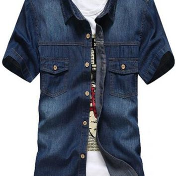 jeansian Men's Casual Slim Short Sleeves Denim Shirts Tops MAD005