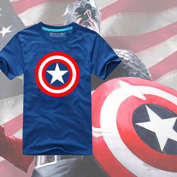 NEW Captain America Cosplay Costume Superhero The Avengers Adult T-shirt Top Tee