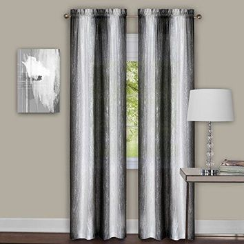 Ben&Jonah Collection Sombre Window Curtain Panel Pair 40x84 - Black / White