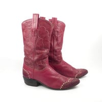 Red Cowboy Boots Vintage 1970s Tony Lama Leather and Lizard Boots Women's size