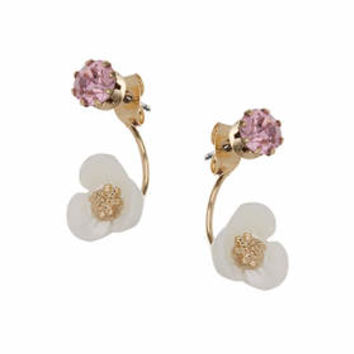 Flower and Rhinestone Front and Back Earrings - Pink