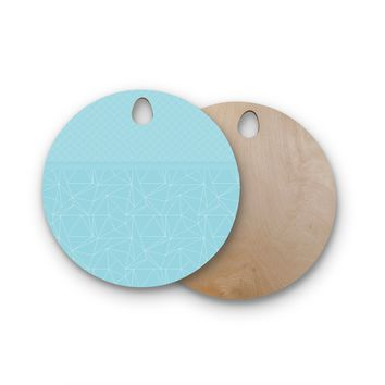 "Pia Schneider ""Blue Geometric Pattern"" Blue White Vector Round Wooden Cutting Board"