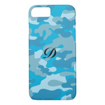 Pretty Blue Camouflage Pattern iPhone 8/7 Case