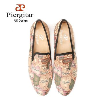 PIERGITAR handcraft men fabric shoes with world map printing UK design loafers