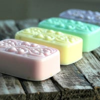 HOLIDAY SALE // 4 Bar Soap Gift Set . the French Collection Shea Butter / Goat's Milk . Unique Gift for Mom Hostess CoWorker Gift