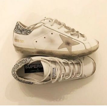 Golden Goose Deluxe Brand Glitter / White Super Star Sneakers