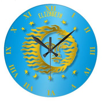 Golden Embossed Sun With Stars And Shadows Large Clock