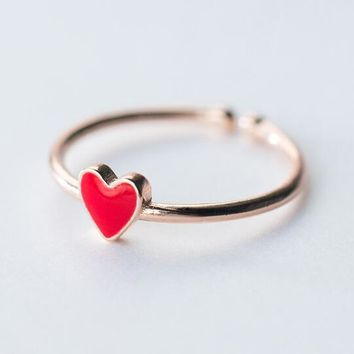 1pc Thin &Small Red Enamel Heart Love Ring 100% REAL.925 Sterling Silver fINE jEWELRY Rose Gold plated GTLJ1296