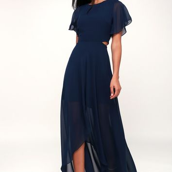Bohemian Rhapsody Navy Blue Cutout High-Low Dress