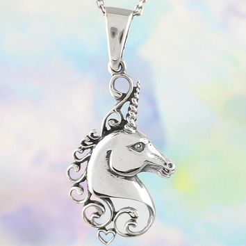 Mythical Unicorn Necklace with Swirling Mane and Heart