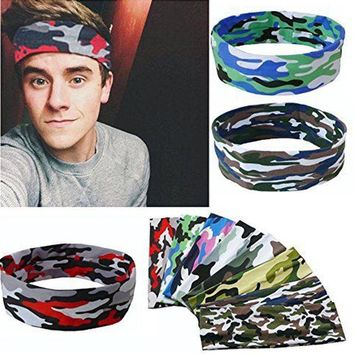 Sweatband Gym Workout Camouflage Ladies Headbands For Women Head Wrap