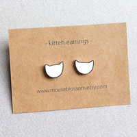 Kitteh cat earrings shrink plastic nickel-free