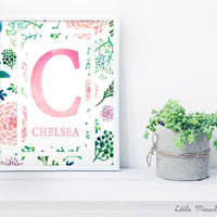 Chelsea, Watercolor, Fine Art Paper, Nursery Décor, Custom Baby Name, Congratulations, Kids Room Art, Nursery Print, Baby Girl [G12G60]