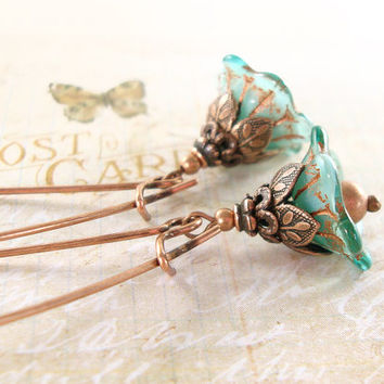 Aqua Teal and Copper Flower Earrings - Neo Victorian Flower Dangle Earrings - Cute Turquoise Earrings Jewelry Gift Ideas - Nature Jewelry