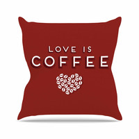 """Busy Bree """" Coffee Love"""" Brown Typograph Throw Pillow"""