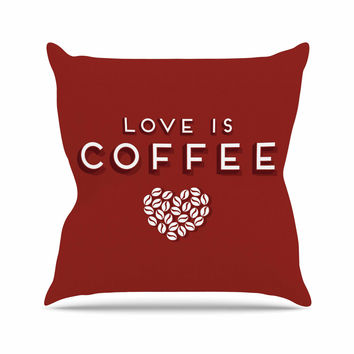 "Busy Bree "" Coffee Love"" Brown Typograph Throw Pillow"