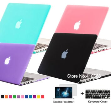Luxury Matte Rubberized Frosted Case Cover Laptop Shell For Apple Macbook Air 11.6 A1370 A1465,Retina Pro 13.3 inch A1425 A1502