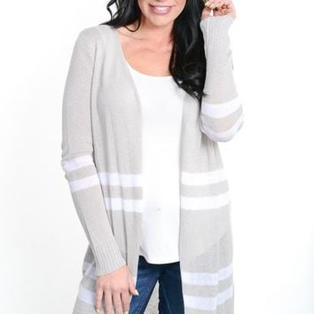 Heather Gray Double Striped Long Cardigan