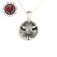 Actual Cat Nose Impression, Silver Nose Print, Pet Jewelry, Animal Lover, Fur Baby, Kitten, Kitty Cat Jewelry, Rescue