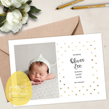 Printable Baby Photo Birth Announcement: Gold Polka Dot