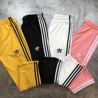 ADIDAS Hot Sale Multicolor Trouser Women Men ELASTIC WAISTBAND Lovers Pants B-MG-FSSH Four Color