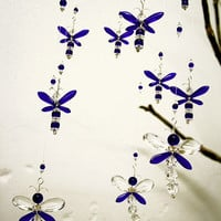 Nursery Ideas Baby Boy Mobile Blue Dragonfly Mobile Firefly Swarovski Crystal Suncatcher Angel Hanging Chandelier Christmas Gift Baby Shower