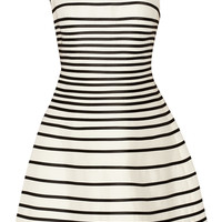 Halston Heritage - Striped cotton and silk-blend dress