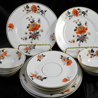 Limoges Porcelain Dinnerware Set ,  Art Deco ,  Orange and Black , Tea Cups and Saucers ,  Dessert Plates , Serving 4 , 1920