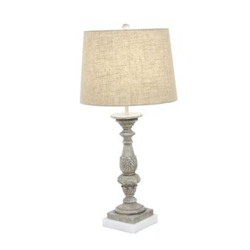 Elegantly Carved Polystone Marble Table Lamp - 58674 by Benzara
