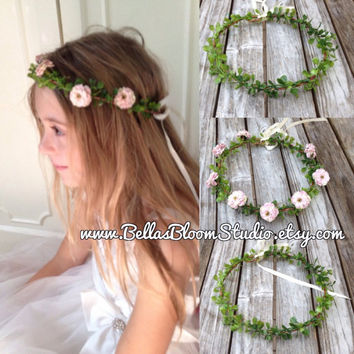 Simple flower crown green flower crown  green wedding crown, floral wreath, leaf crown, leaf headband, green bridal wreath etsy