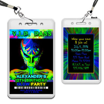 Glow Invitations - Rave Invitation - Sleepover Invite - Lock In Invitations - Glow In The Dark Birthday Party - Glow VIP Pass - Boys Glow