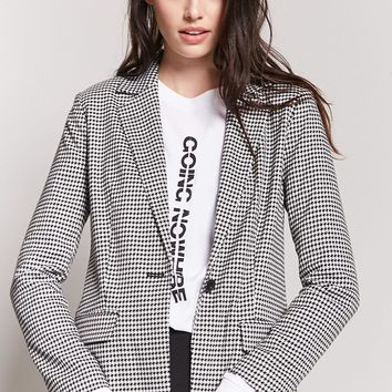 Houndstooth Single-Breasted Blazer