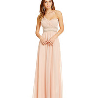 Sequin Hearts One Shoulder Pearl Trim Gown | Dillards